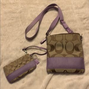 Lavender Coach Purse and Wristlet